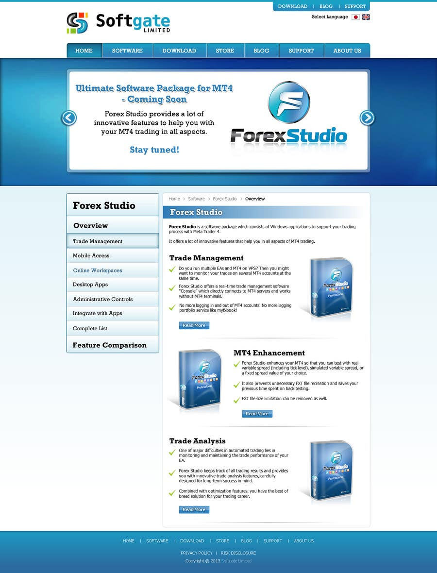 Inscrição nº 29 do Concurso para Website Design for Forex Studio product page