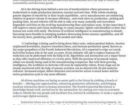 #10 for Write some Articles on Artificial Intelligence and Robotics and how they are used in the Manufacturing Industry by saritha1979