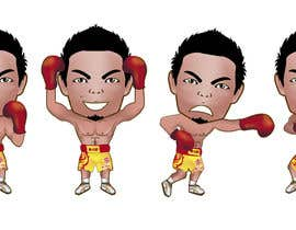 "#37 for Design an Asian Boxer Cartoon Character with 4 different punching actions/posts all in full body. (*Suggest to best use ""Srisaket Sor Rungvisai"" as the referral for the character) by EVINR"