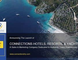 "Nro 3 kilpailuun Header - ""Announcing the launch of Connections Hotels Resorts and Yachts"" . One evocative image (I welcome suggestions or I will provide) and copy with contact details for click through (again, welcome suggestions or I can provide) www.connectionshry.com käyttäjältä d3stin"