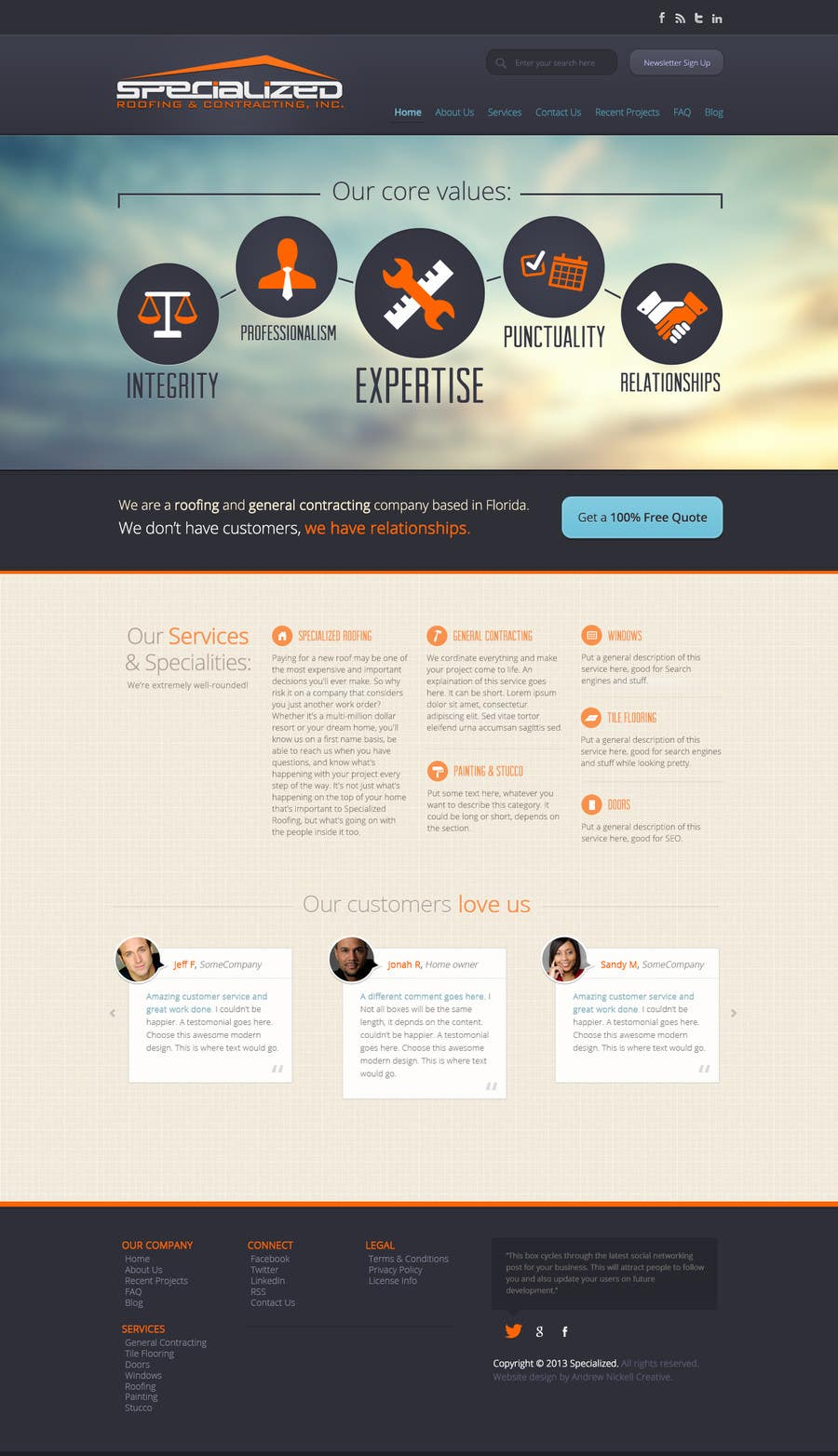Bài tham dự cuộc thi #                                        8                                      cho                                         Wordpress Theme Design for Specialized Roofing & Contracting Inc.