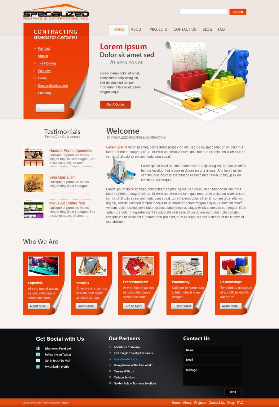 Bài tham dự cuộc thi #                                        19                                      cho                                         Wordpress Theme Design for Specialized Roofing & Contracting Inc.