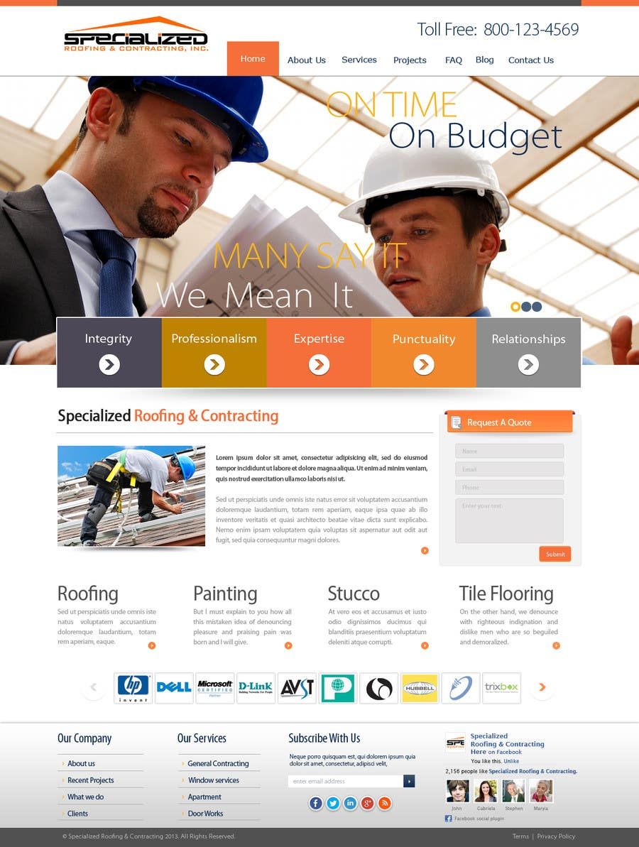 Bài tham dự cuộc thi #                                        18                                      cho                                         Wordpress Theme Design for Specialized Roofing & Contracting Inc.