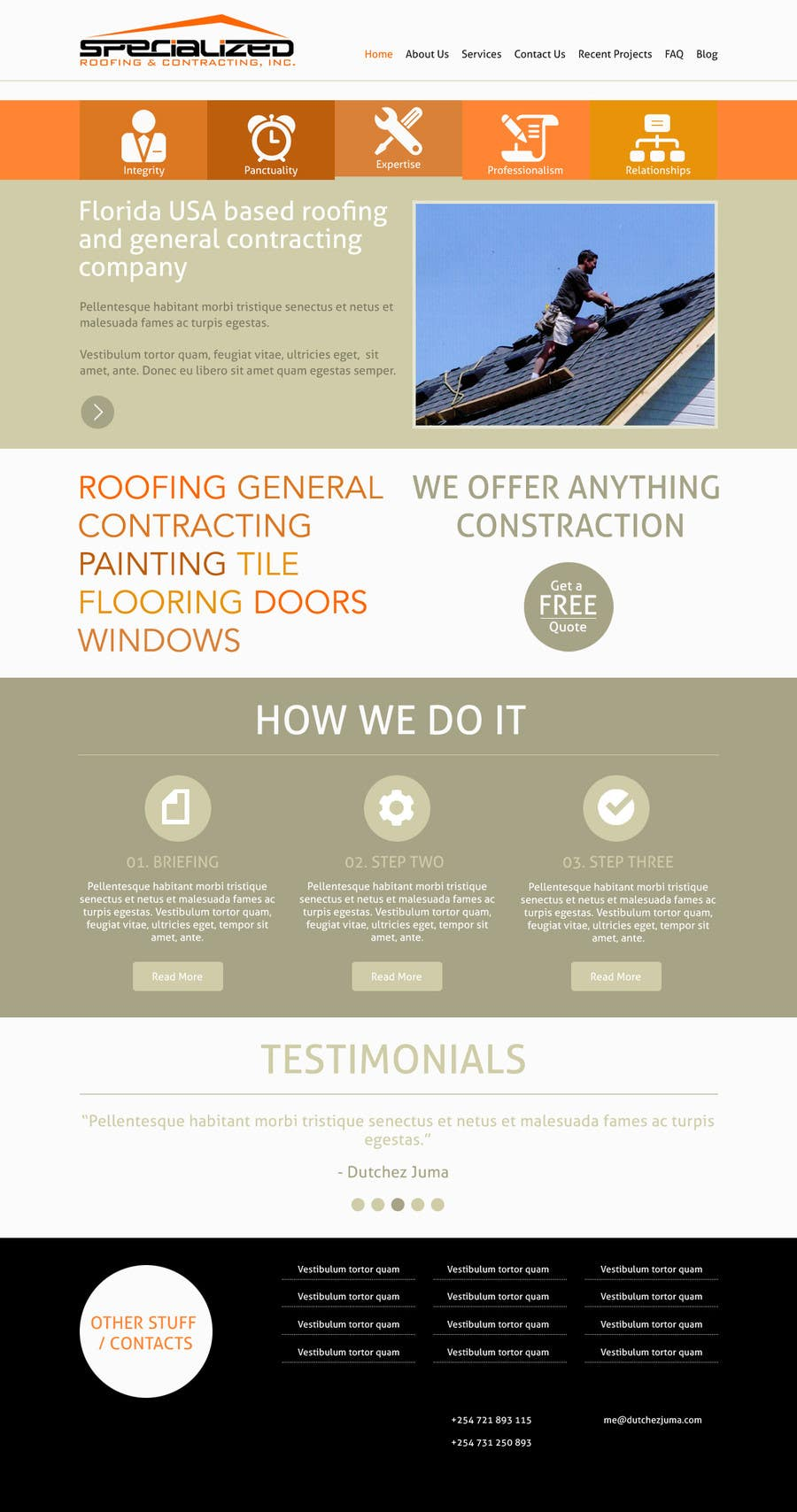 Bài tham dự cuộc thi #                                        14                                      cho                                         Wordpress Theme Design for Specialized Roofing & Contracting Inc.