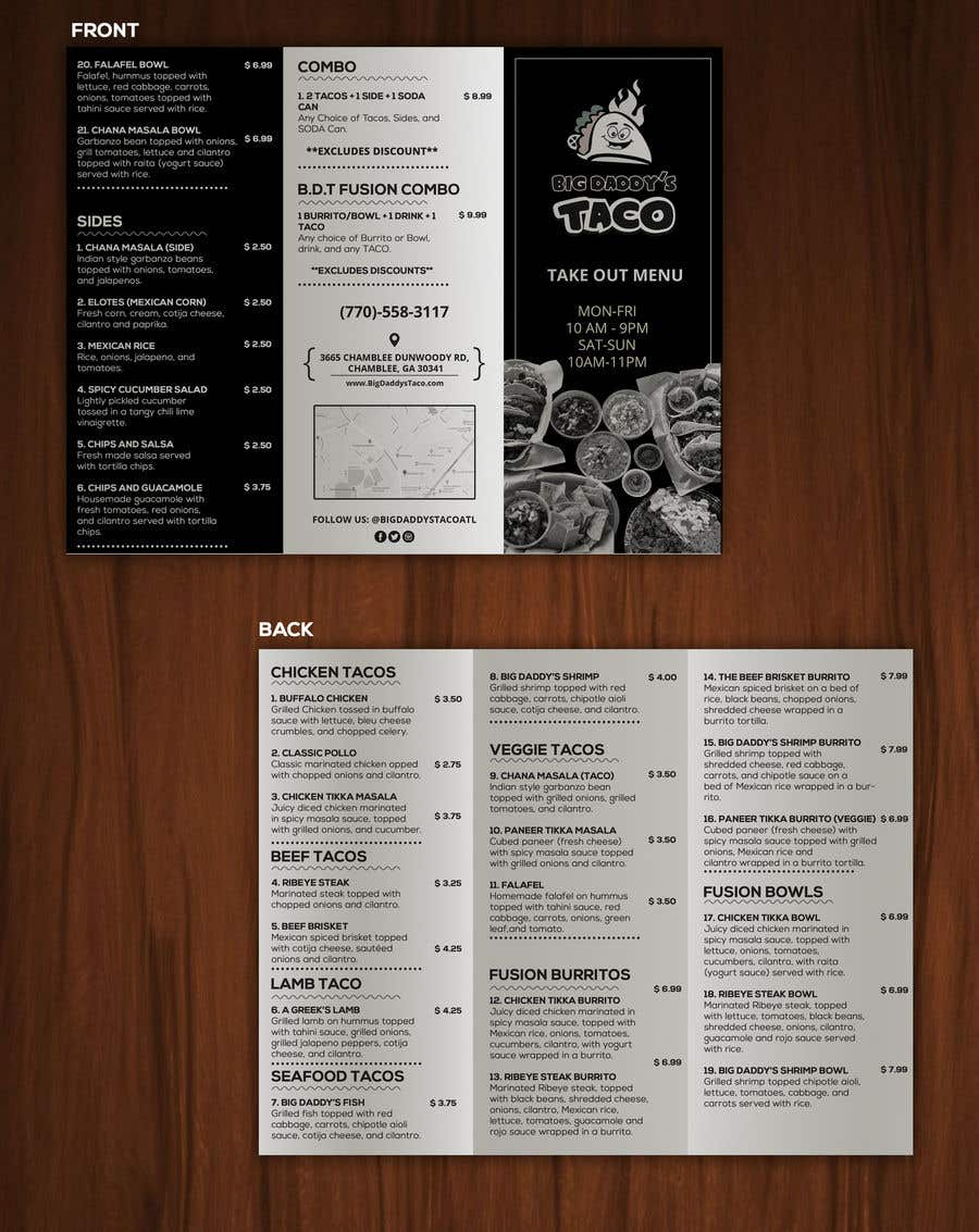 Contest Entry 7 For Need A Takeout Menu Design Restaurant