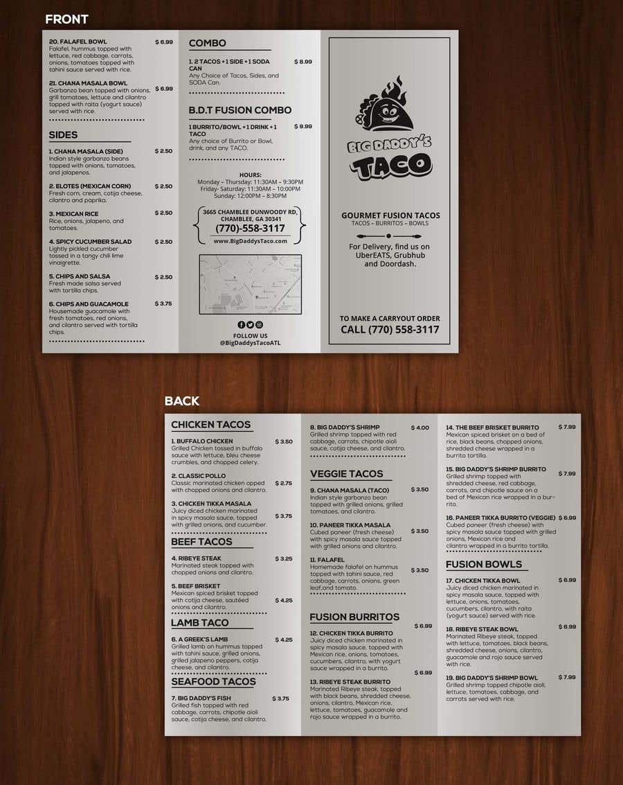 entry 17 by satishandsurabhi for need a takeout menu design for