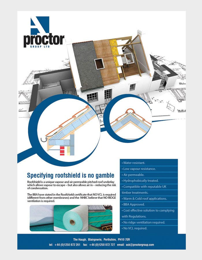 Inscrição nº 45 do Concurso para Roofshield Advertisement Design for A. Proctor Group Ltd