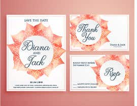 n000m444n tarafından Need three themes created for a wedding invite package. Think pretty, water colour, and can be simple but elegant.  Invite size - A5 148x210mm RSVP and save the date - A6 105x148 (portrait or landscape) için no 4
