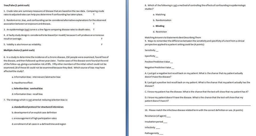 Proposition n°                                        5                                      du concours                                         epidemiology homework