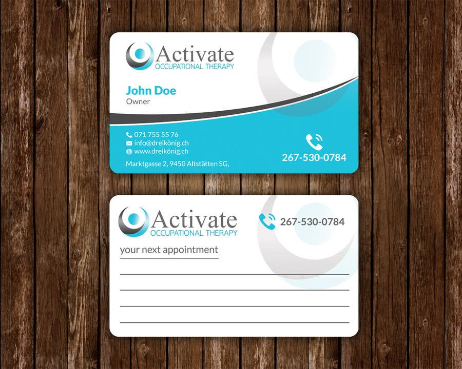 Penyertaan Peraduan #                                        46                                      untuk                                         Design some Business Cards for Activate Occupational Therapy