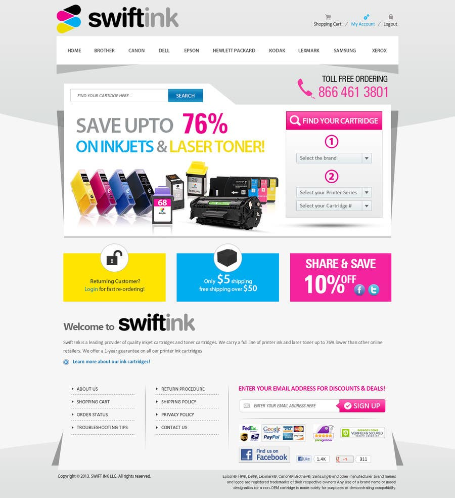 Konkurrenceindlæg #                                        64                                      for                                         Website Design for Swift Ink