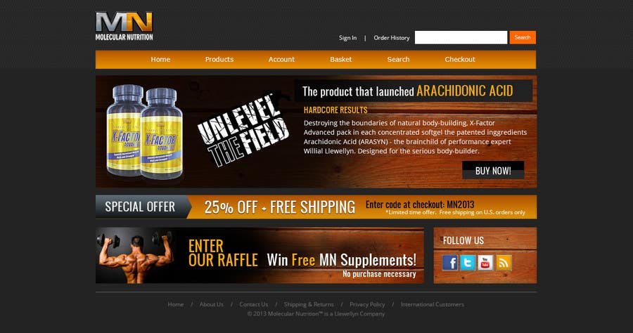 Penyertaan Peraduan #                                        11                                      untuk                                         Website for Sports Nutrition Co. NO CODING / GFX ONLY