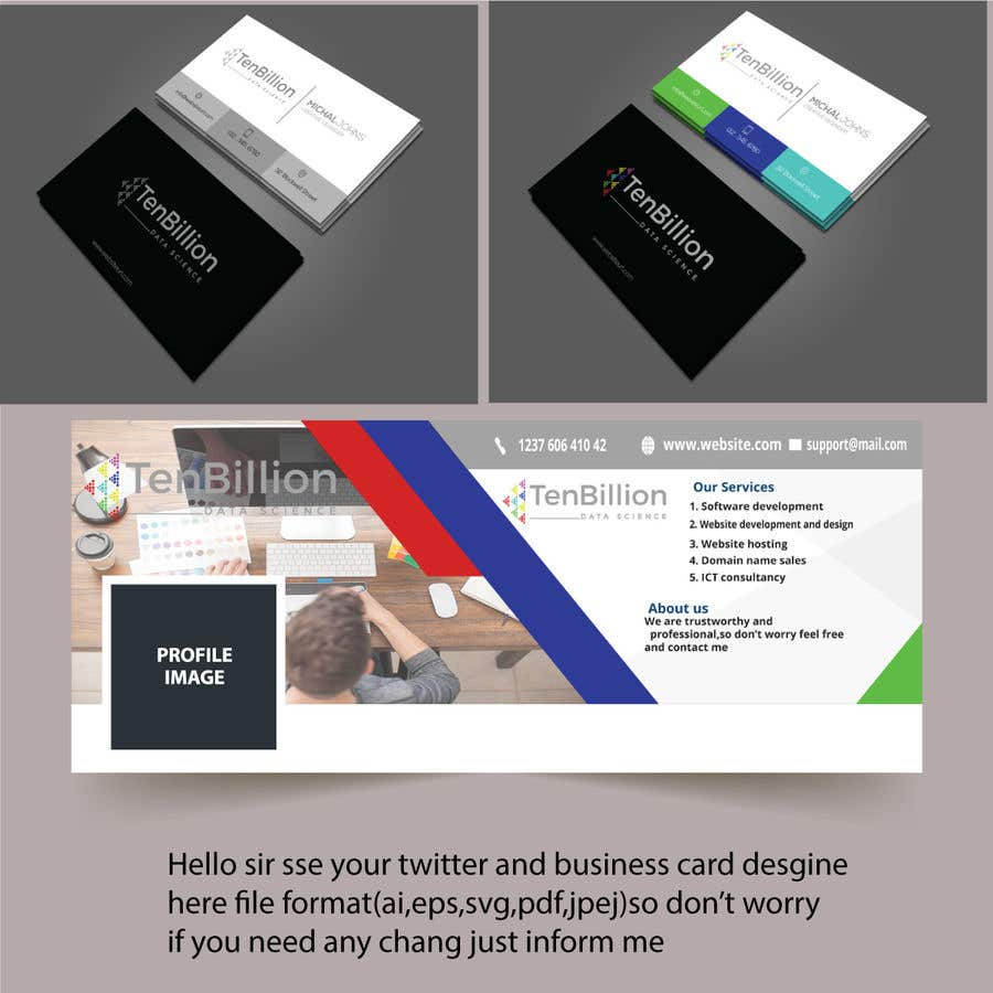 Entry #1 by babul881 for Business card and twitter cover design ...
