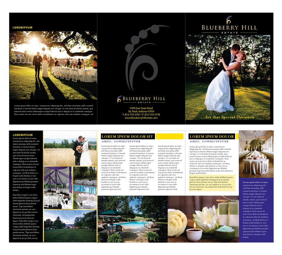 Konkurrenceindlæg #39 for Graphic Design for MARKETING BROCHURE -Blueberry Hill Estate- Wedding Specific -Media Kit for print