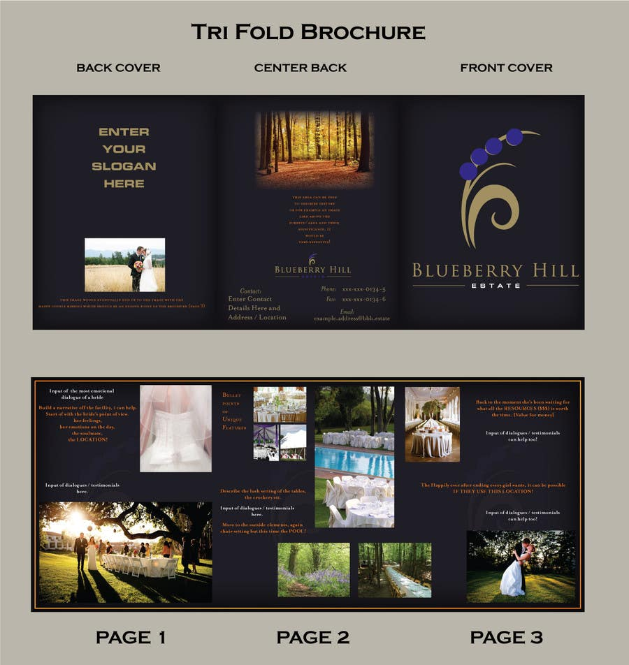 Konkurrenceindlæg #                                        17                                      for                                         Graphic Design for MARKETING BROCHURE -Blueberry Hill Estate- Wedding Specific -Media Kit for print