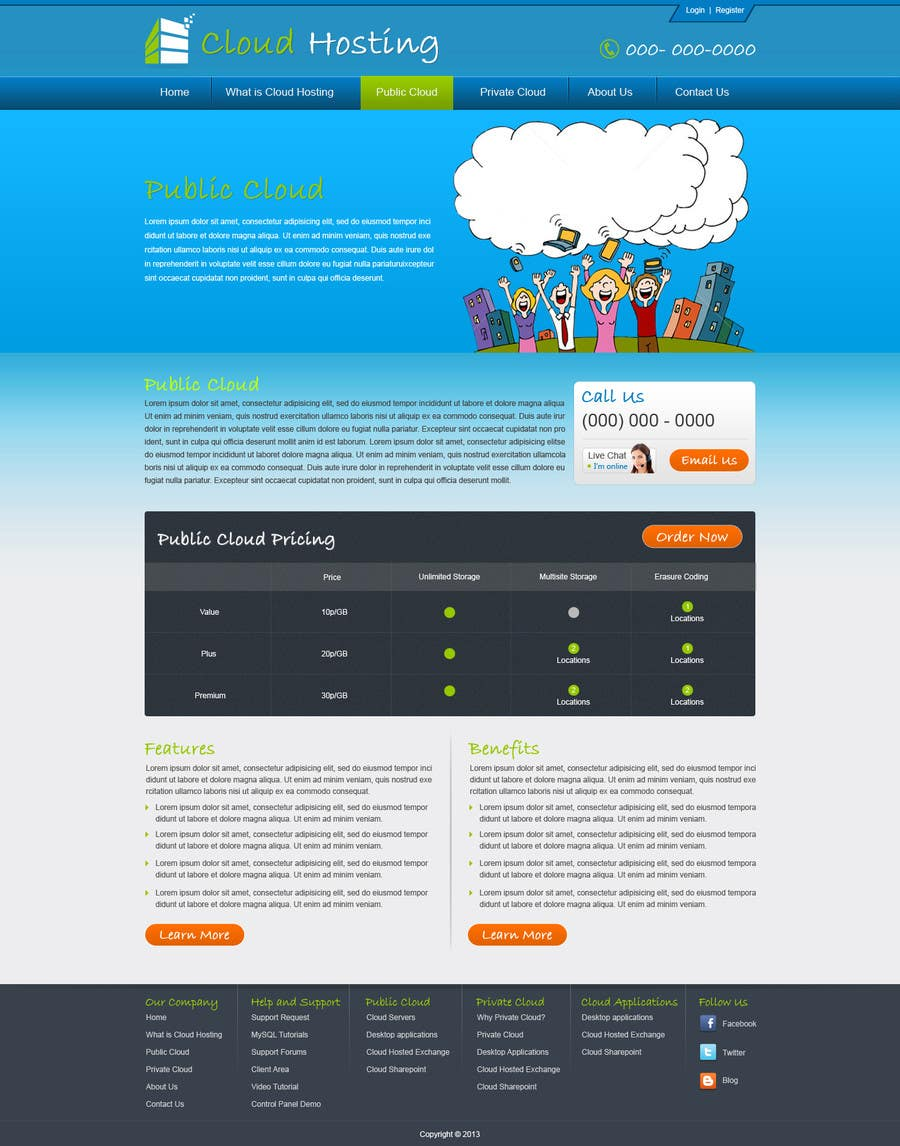Inscrição nº 39 do Concurso para Website Design for cloud hosting and cloud storage mini site for major UK hosting company