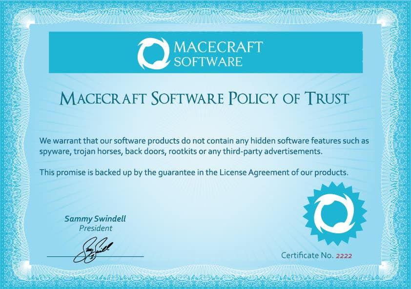 Contest Entry #24 for Website Certificate Design for Macecraft Software