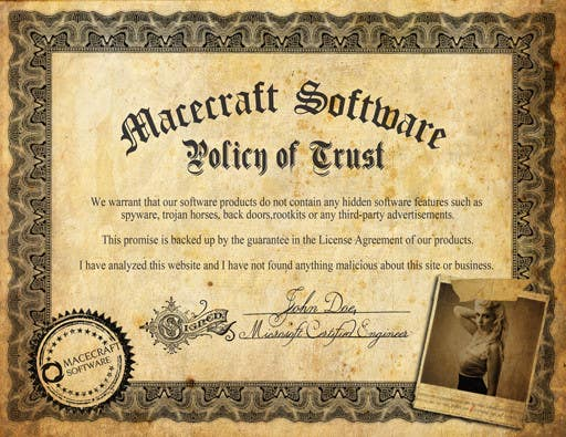 Contest Entry #2 for Website Certificate Design for Macecraft Software