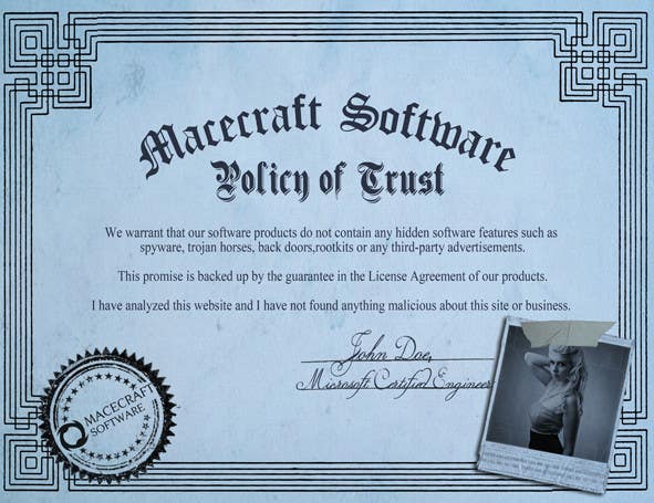 Contest Entry #3 for Website Certificate Design for Macecraft Software