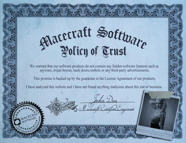 Contest Entry #1 for Website Certificate Design for Macecraft Software