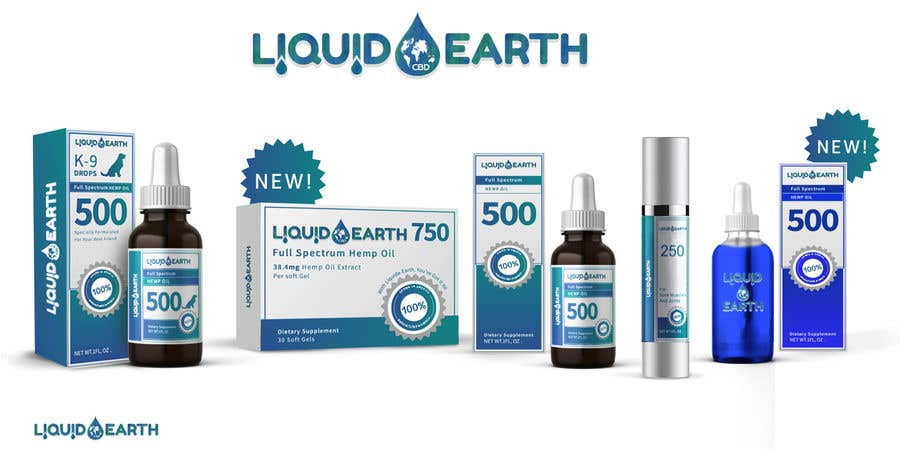Penyertaan Peraduan #25 untuk I need a mockup of our product line with our label added to each item, which includes our logo (Liquid Earth CBD) and a discription on the bottles and boxes. Logo will be provided for you. There are about 5 products id like displayed in the picture.