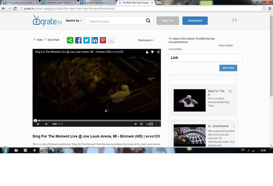 Penyertaan Peraduan #                                        7                                      untuk                                         build the most popular video queue