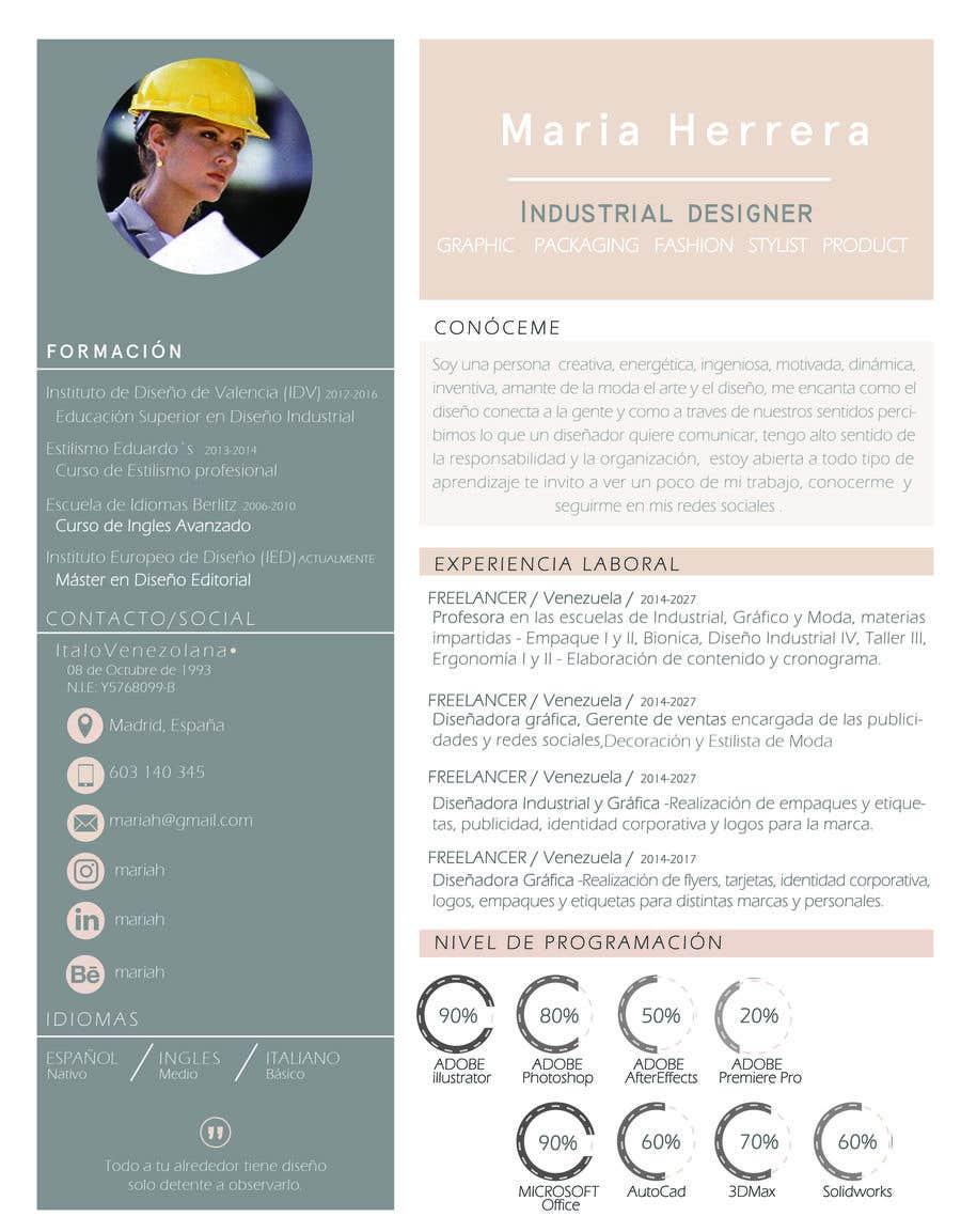 Entry 31 By Giulianaoionen For Diseno De Curriculum Vitae Freelancer