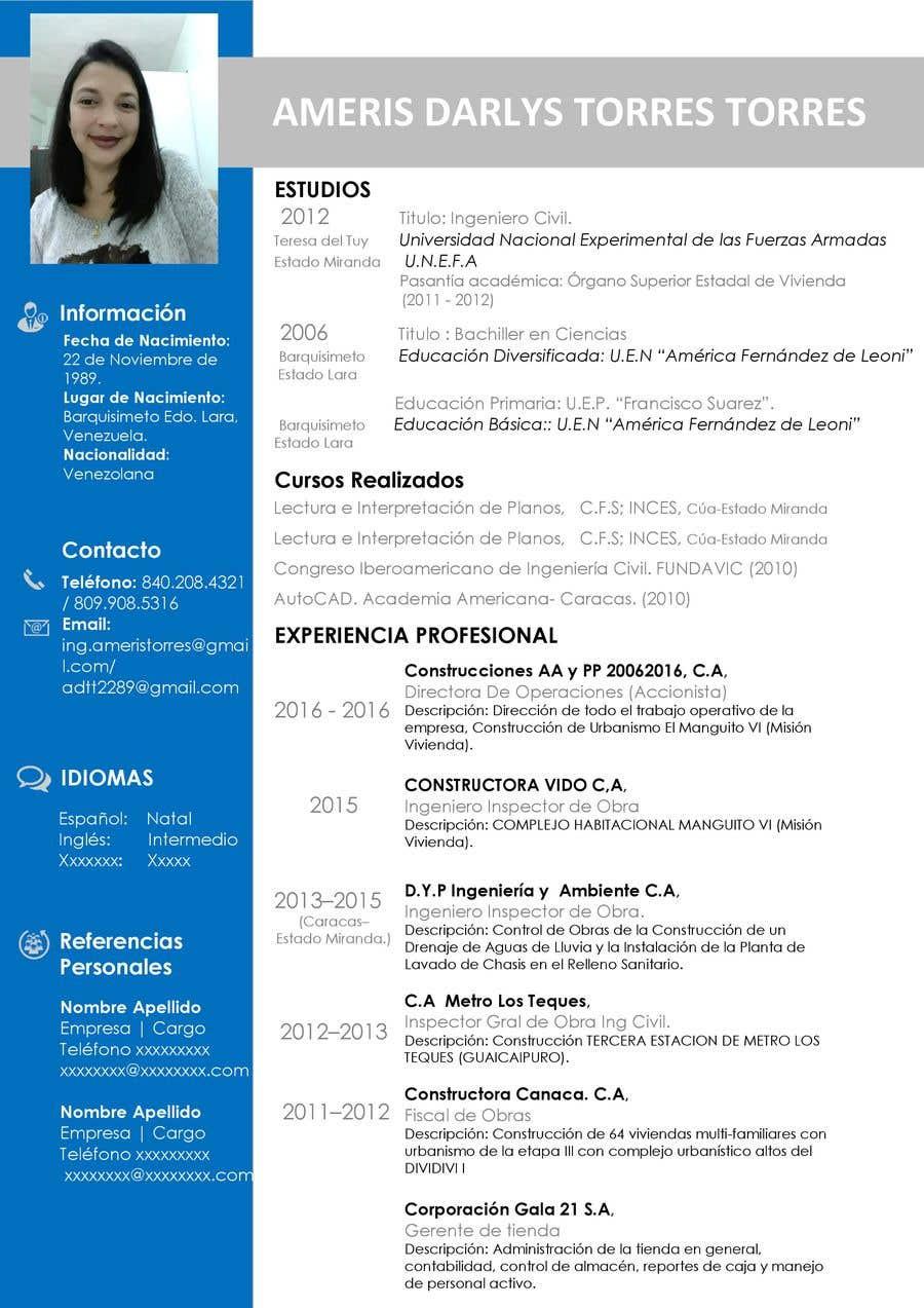 Entry 8 By Juanfjimenezo For Diseno De Curriculum Vitae Freelancer