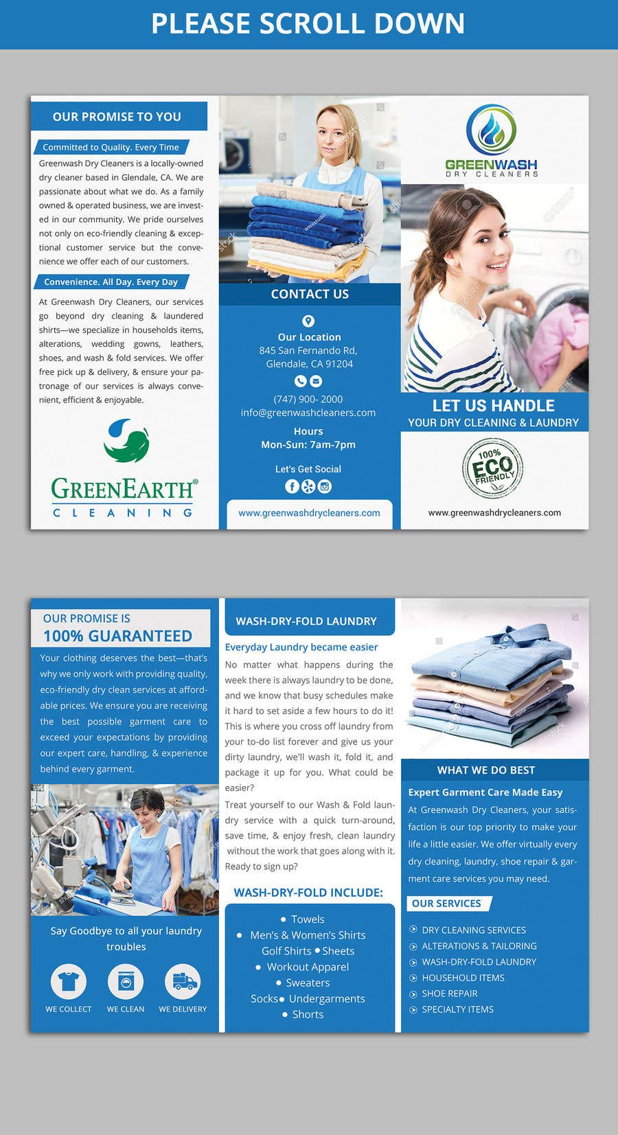 Entry 14 By Rabbim666 For Need A Tri Fold Brochure Dry Cleaners Laundry Business Freelancer