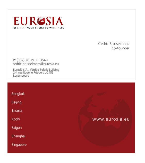Kilpailutyö #66 kilpailussa Business Card Design for www.eurosia.eu