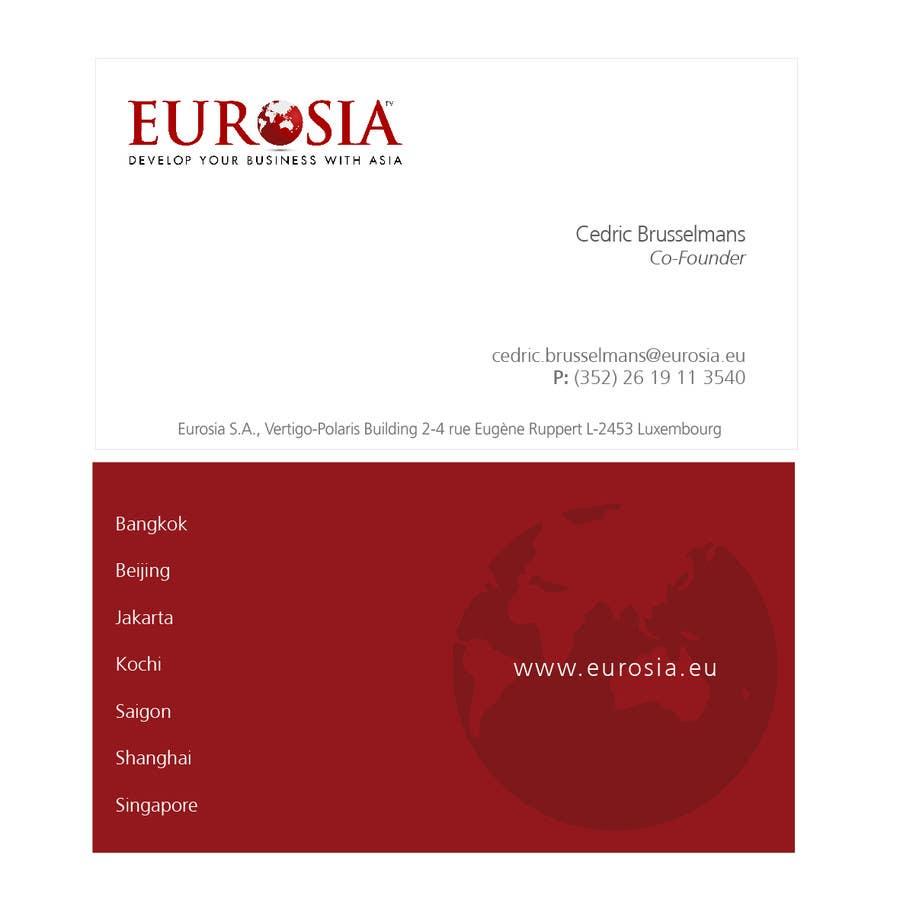 Inscrição nº 93 do Concurso para Business Card Design for www.eurosia.eu