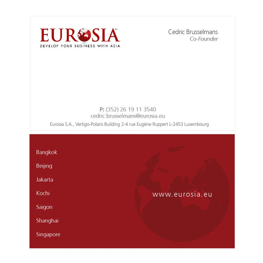 Kilpailutyö #                                        94                                      kilpailussa                                         Business Card Design for www.eurosia.eu