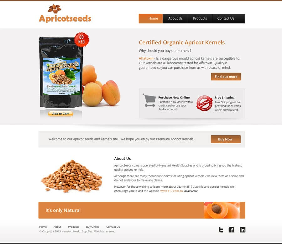 #15 for Graphic Design - Redesign FRONT PAGE Only - apricotseeds.co.nz website by Pavithranmm