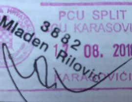 Nro 10 kilpailuun 1. Remove all text and lines except the pink stamp, 3882, Mladen Rilovic and signature.  2. Change the stamp date to say 17.08.2018. käyttäjältä Mohidulhaque1