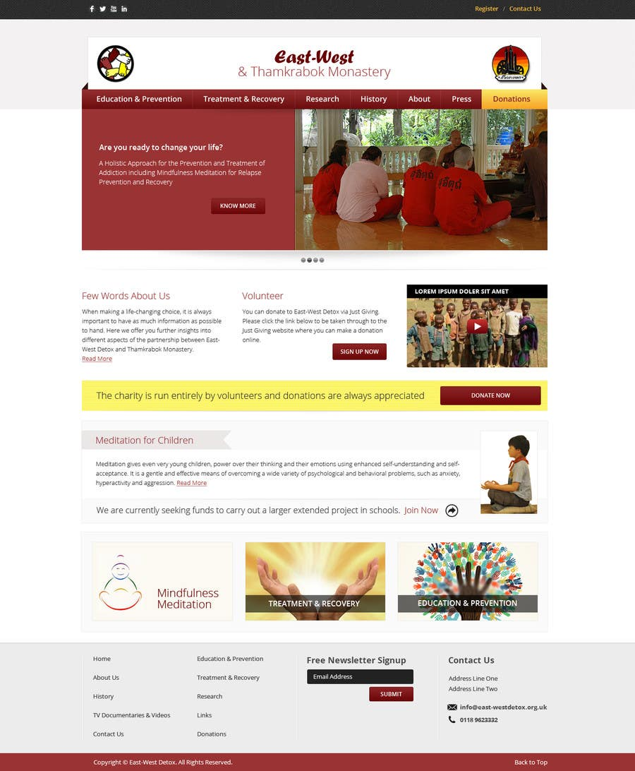 Proposition n°                                        4                                      du concours                                         Wordpress Theme Design for New website for East West Detox, Charity Website