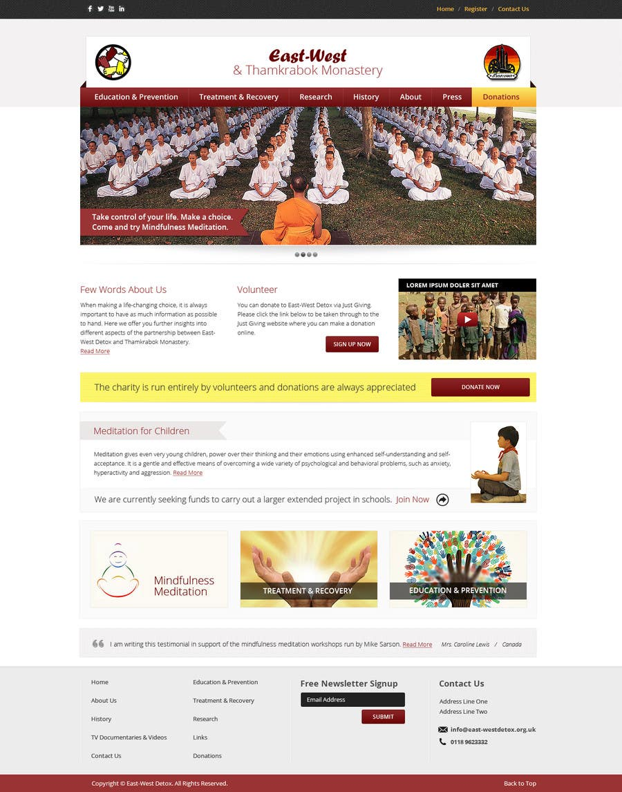 Proposition n°                                        14                                      du concours                                         Wordpress Theme Design for New website for East West Detox, Charity Website