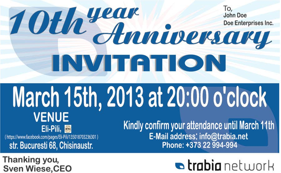 Corporate Party Invitation Design for 10th anniversary