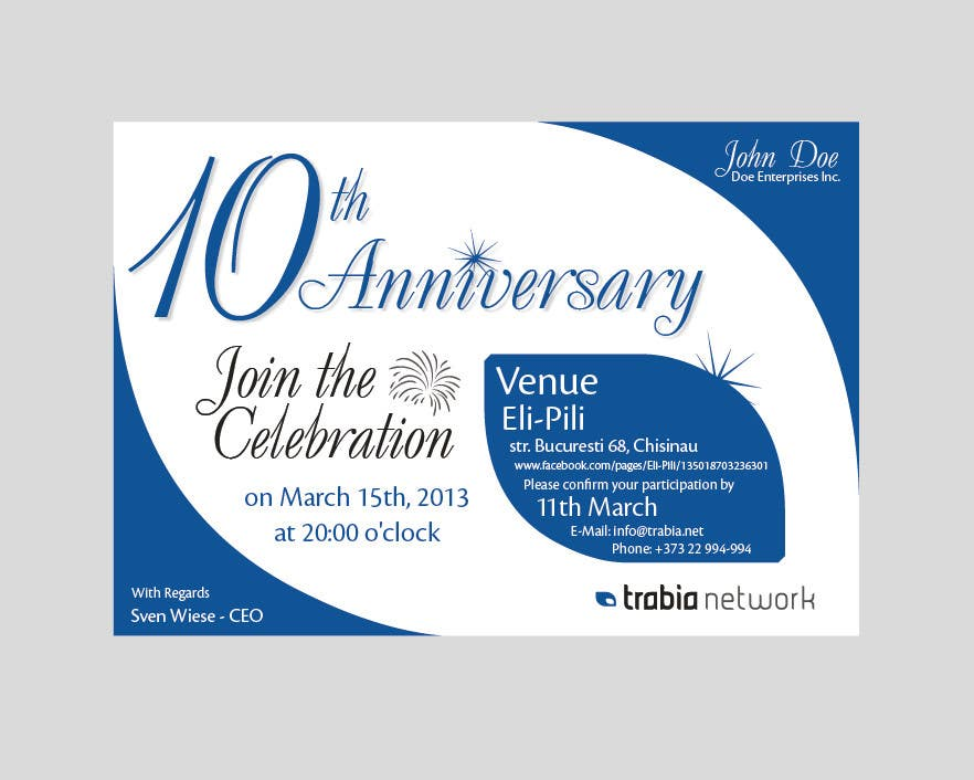 Photography Contest Entry #84 for Corporate Party Invitation Design for 10th anniversary