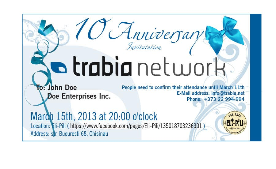 Contest Entry #125 for Corporate Party Invitation Design for 10th anniversary