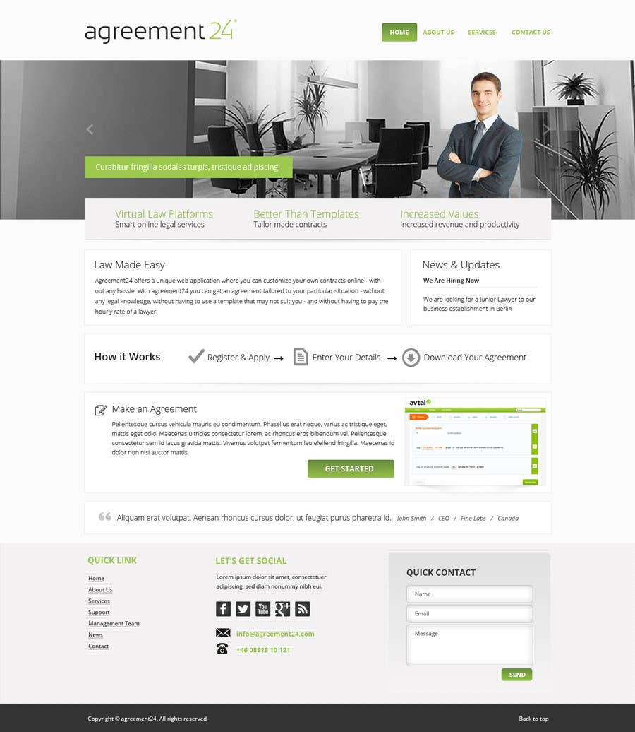 #2 for Graphic redesign - FRONT PAGE and sub template - agreement24.com website by Pavithranmm