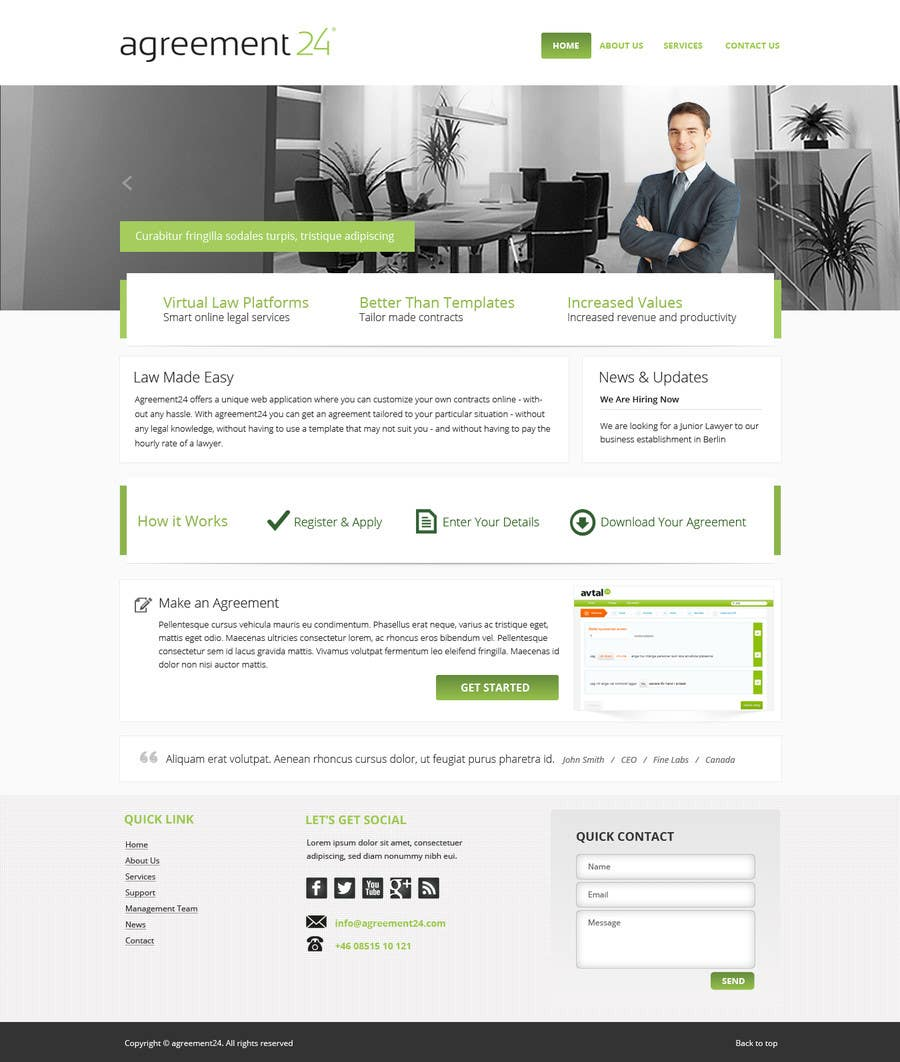 #4 for Graphic redesign - FRONT PAGE and sub template - agreement24.com website by Pavithranmm