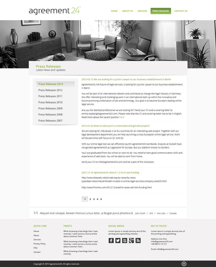 #16 for Graphic redesign - FRONT PAGE and sub template - agreement24.com website by Pavithranmm