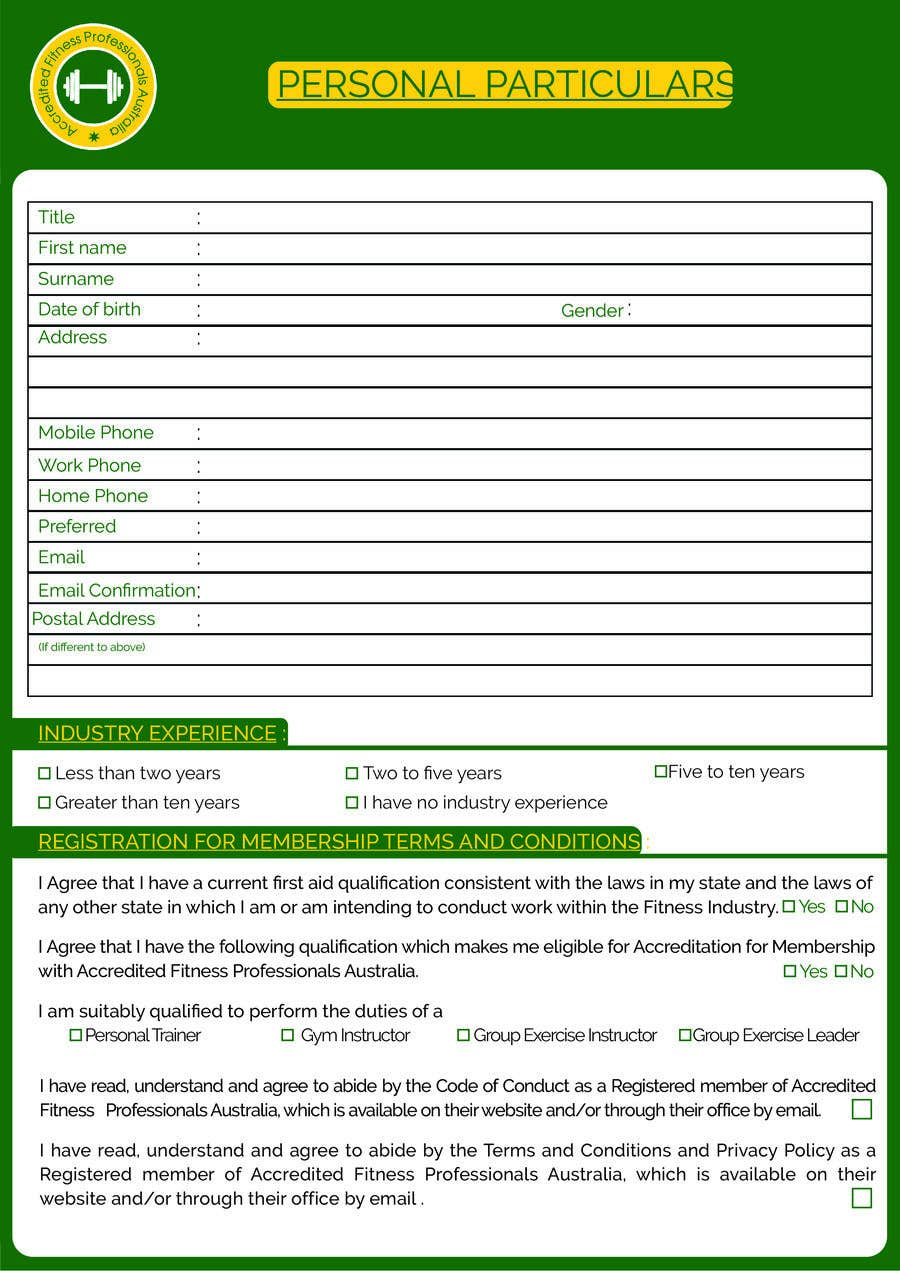 Entry #6 by sakilahmed733 for Form design in adobe acrobat PDF