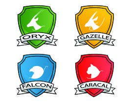 Nro 13 kilpailuun 4 School House Logos. We have Oryx (green), Gazelle (yellow), Falcon (blue) and Caracal (red). See image 1 for more details. Ive attached examples of online images. käyttäjältä JunaidAman