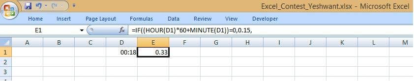 entry 14 by ryeshwant for formula for ms excel needed to round up