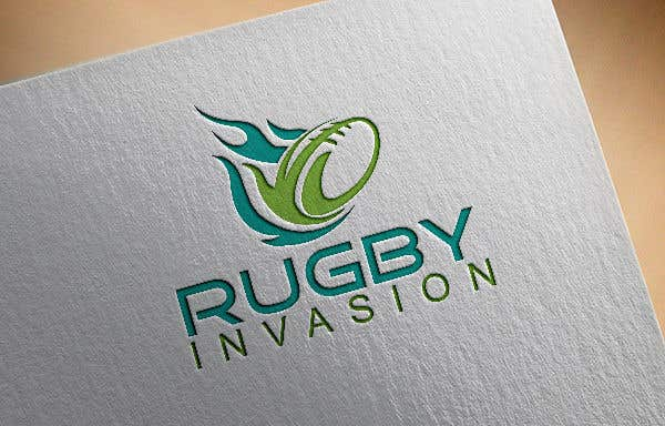 Penyertaan Peraduan #9 untuk I need a logo designed for a Rugby news website.  Website name - Rugby Invasion  Logo Ideally consist of RI (higher or lowercase) Rugby Invasion  Ruby ball or the shape Rugby posts  Looking for vibrant colours