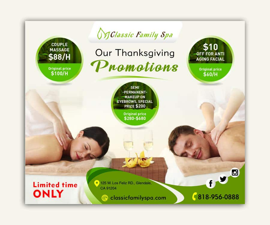 Entry 13 By Mylogodesign1990 For Design A Thanksgiving Seasonal Promotional Banner Ad For A Spa Freelancer