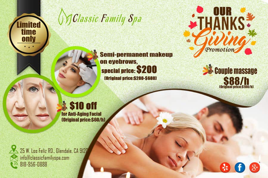 Entry 66 By Jojohf For Design A Thanksgiving Seasonal Promotional Banner Ad For A Spa Freelancer