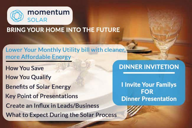 Proposition n°20 du concours Create a Leave-behind/Dinner Invitation for potential solar customers