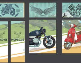 #47 untuk Moped.Ge Moped and Motorcycle shop front sticker design oleh Nixa031